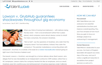 Lawson v. GrubHUb article on the TalentWave blog